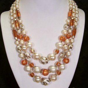 R-1104 Vintage Pumpkin Moon Glow Bead Necklace